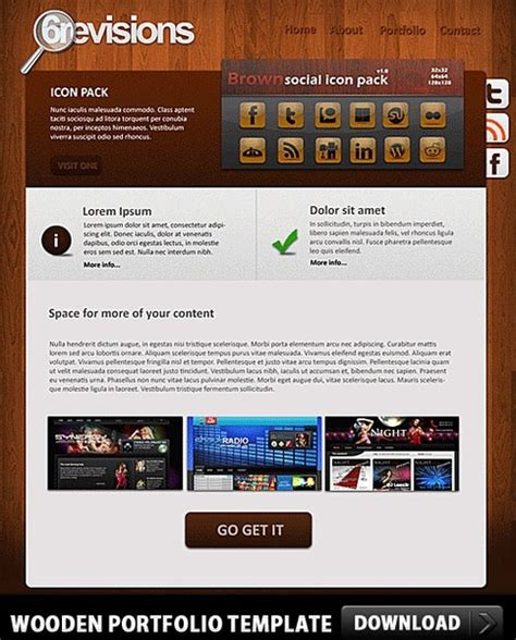 wooden portfolio free psd template free psd in photoshop