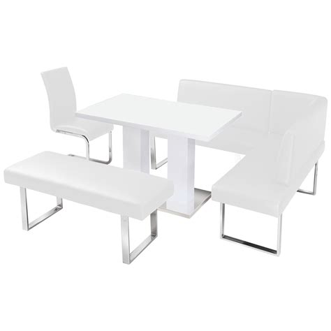 white dining table and bench high gloss dining table with bench next black high gloss
