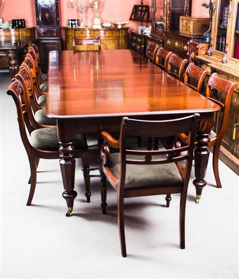 Antique Dining Table And Chairs Antique William Iv Mahogany Extending Dining Table And 12 Chairs At 1stdibs