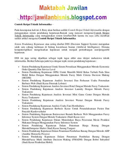 Format Laporan Skripsi Teknik Informatika | contoh skripsi teknik informatika