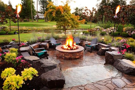 Deck To Patio Transition by Magical Outdoor Fire Pit Seating Ideas Amp Area Designs