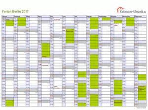 Kalender 2018 Schulferien Ausdrucken Ferien Berlin 2017 Ferienkalender Zum Ausdrucken