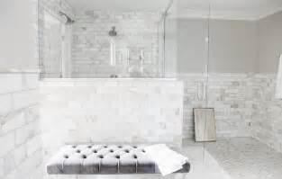White Marble Subway Tile Bathroom by Calcutta Gold Marble Subway Tile Bathroom