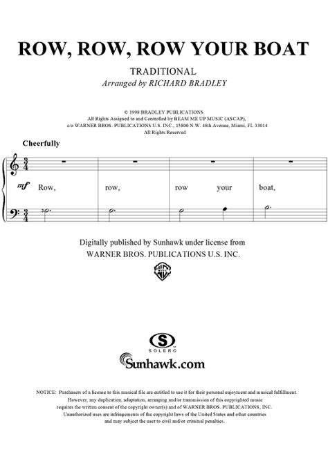 row your boat sheet music row row row your boat sheet music for piano and more
