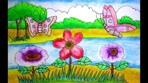 draw  scenery  flower garden  kids youtube