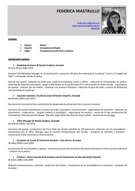 Modelo De Curriculum Vitae Chile 2015 Federica Mastrullo Cv 2015 En Castellano