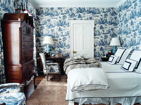 blue and white bedrooms toile de jouy wallpaper fabric blue white decor francois