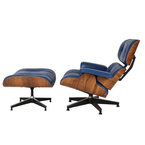 blue leather chair and ottoman vintage 670 671 eames rosewood lounge chair and ottoman in
