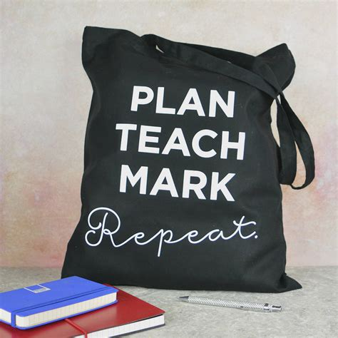 Hs Miniso Plan Tote Bag tote bag plan teach repeat by pink and turquoise notonthehighstreet