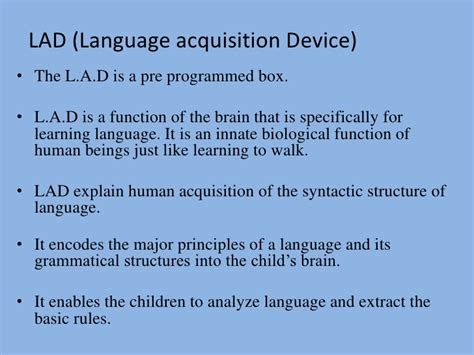 Language Acquisition Device Linguistic Oriented Theories Behaviorism And Innatism