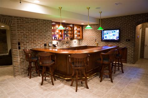 pub room finished brick basement bar room game room home bar