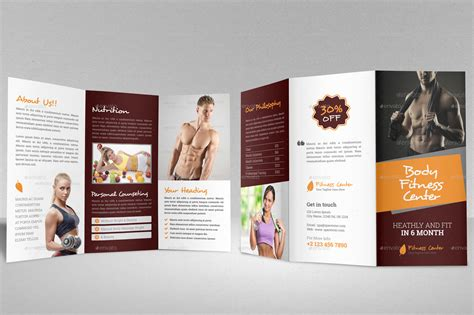 fitness brochure templates fitness trifold brochure indesign template by