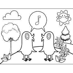 coloring pages of birds singing two birds singing coloring page