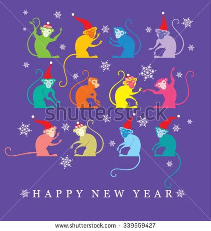 happy new year monkey wishes isolated elements your design 스톡 벡터 519443884