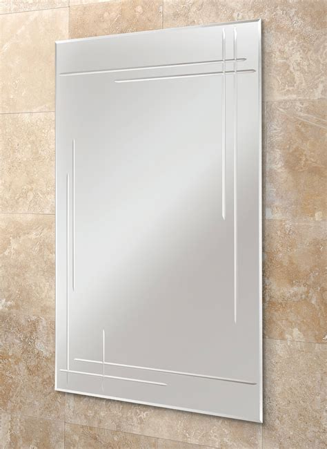 bathroom mirror bevelled edge hib opus rectangular bevelled edge bathroom mirror 500 x