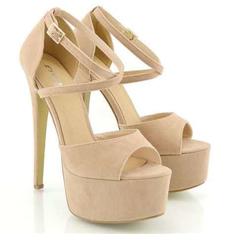 High Heel Platform Sandals womens peep toe strappy platform stiletto high heel