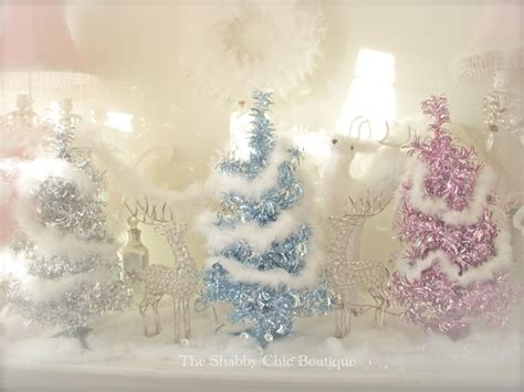 2 ft shabby small vintage pink chic pre lit lights tinsel