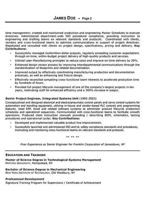mechanical project engineer resume sle sle resume for mechanical design engineer 28 images 11