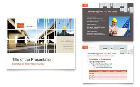 Open Office Presentation Templates Card Layout by Civil Engineers Powerpoint Presentation Template Design