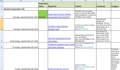 editorial calendar for social media