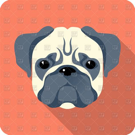 pug icon pug icon in flat style 43428 icons and emblems royalty free vector