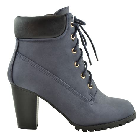 rugged womens boots womens ankle boots rugged lace up high heel booties navy tanga