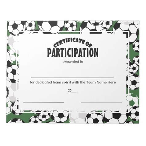 soccer certificates templates soccer certificates of participation note pads zazzle