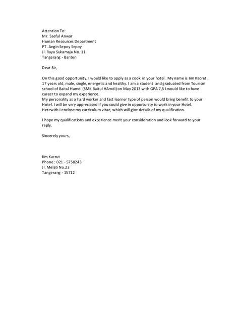 contoh surat lamaran kerja untuk lulusan smk gontoh