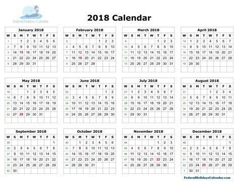 2018 Calendar Printable Template With Holidays Usa Uk Canada Printable Calendar Template 2018