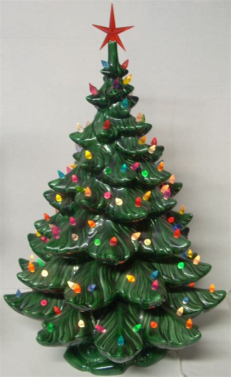 Vintage Ceramic Lighted Christmas Tree 24 Inch Christmas Ceramic Lighted Tree