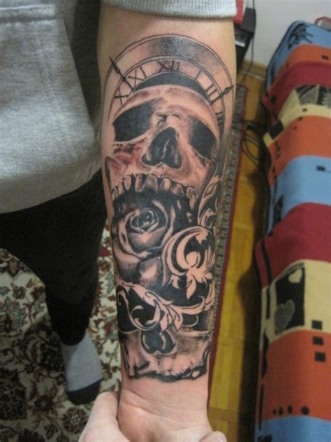sweet skull clock arm tattoo tattoomagz