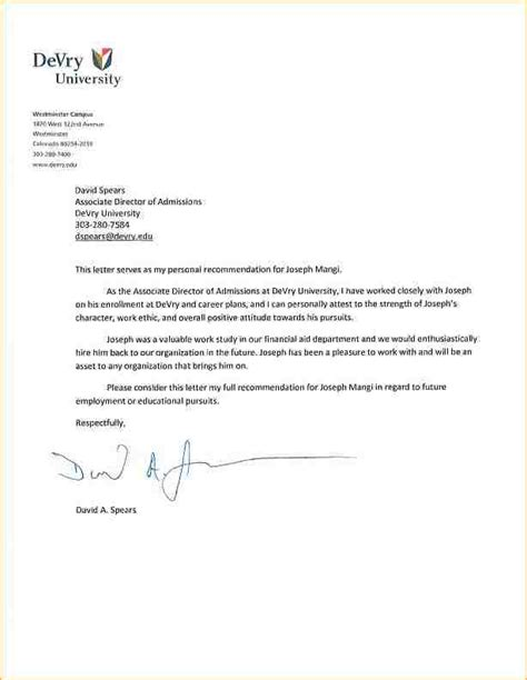 Letter Of Recommendation Sle For Student college application letter of recommendation sle 28