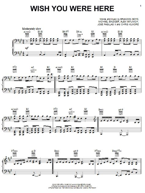 tutorial piano wish you were here wish you were here sheet music by incubus piano vocal