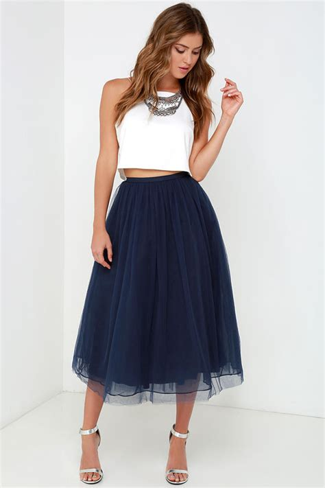 Bc408 Semi Knit Shirt With Tutu Skirt give it a twirl navy blue tulle midi skirt navy blue