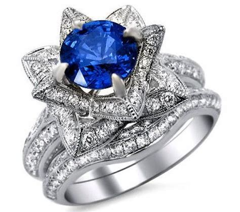 Blue Sapphire 4 65ct 2 65ct blue sapphire lotus flower ring