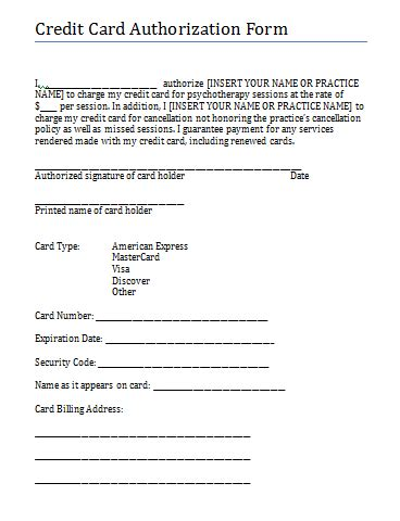credit card consent form template credit card authorization and consent form for therapy