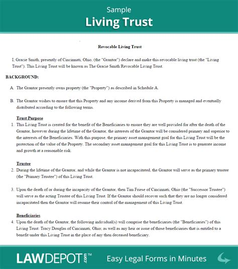 Revocable Living Trust Free Living Trust Forms Us Lawdepot Business Trust Template