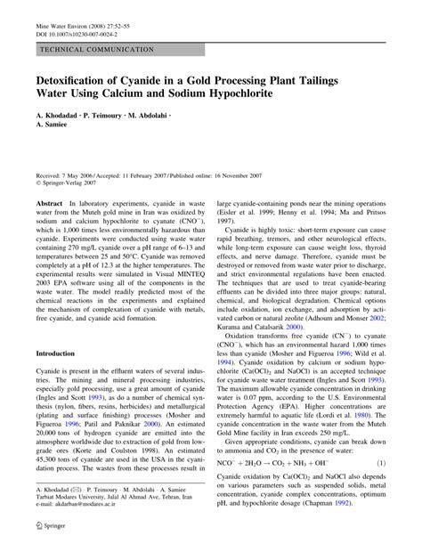 Cyanide Detox by Detoxification Of Cyanide In A Gold Pdf