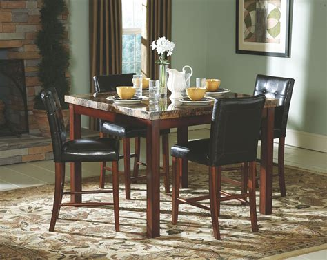 achillea faux marble counter height dining room set from
