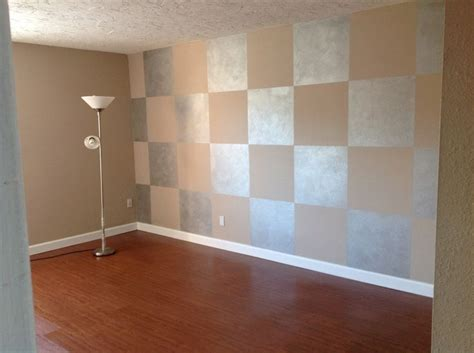 my rental unit squares painted on the wall in silver metallic paint wood floor silver beige