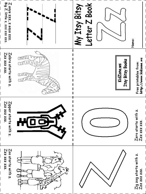 Starting With Letter Z letter zz beginning letter sounds worksheet great