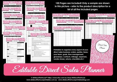 free printable planner direct sales printable direct sales planner editable