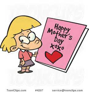 cartoon holding a mothers day card 4207 by ron leishman