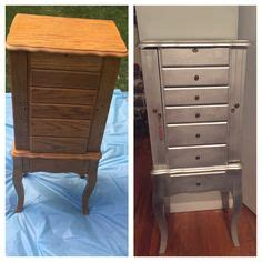 refurbished armoire jewelry armoire painted in as graphite and silver hightlights https www facebook com