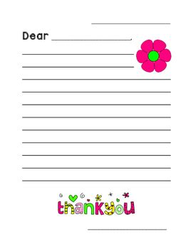 thank you card template with lines thank you letter template by what s new in grade two tpt
