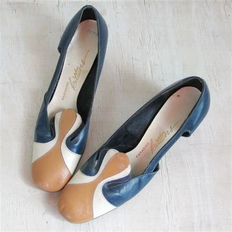 Shoes Wonderful Shoes Shoe Shopping With Second City Style Fashion by Vintage 1970s Colorblock Shoes Navy Blue Tuscan Gold And