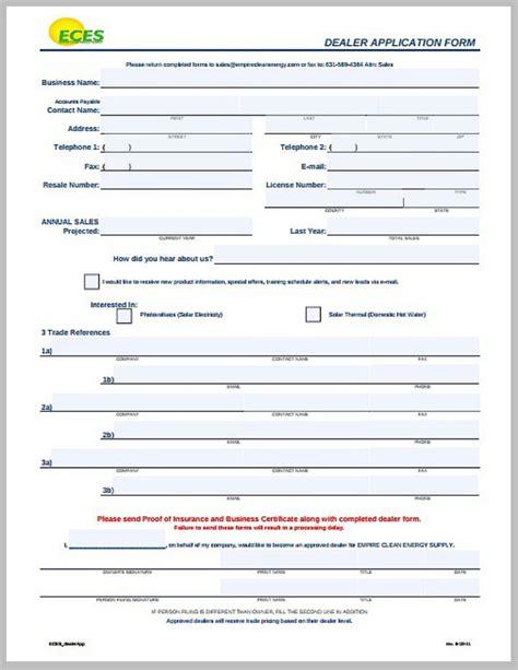dealer application template 8 dealer application form templates pdf free