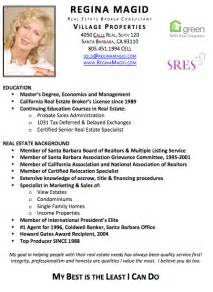 Sample Resume For Real Estate Agent Reginamagid Com Santa Barbara Real Estate Broker Resume