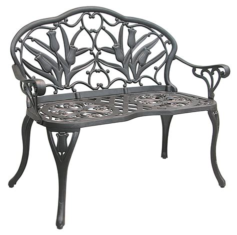 iron patio bench patio furniture bench cast aluminum iron loveseat tulip