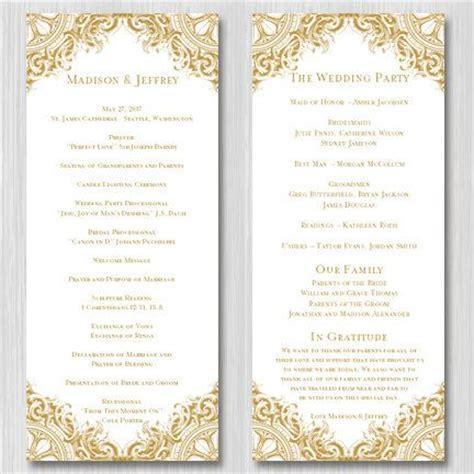 50th birthday program template wedding ceremony program template quot vintage quot gold order of